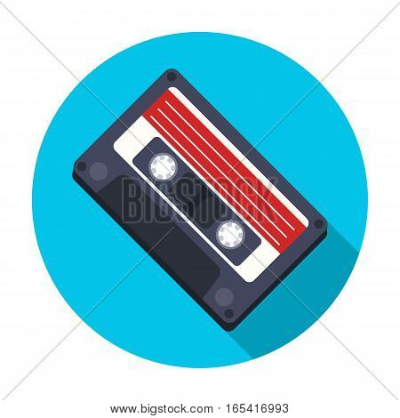 Audio cassette icon in flat design isolated on white background. Hipster style symbol stock vector illustration.