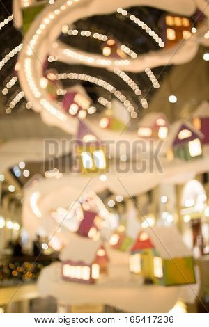 Defocused photo of holiday decoration city at night