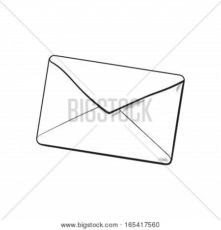 Backside of envelope, sketch vector illustration isolated on white background. Hand drawing of enveloped with a lipstick kiss, love letter, romantic message