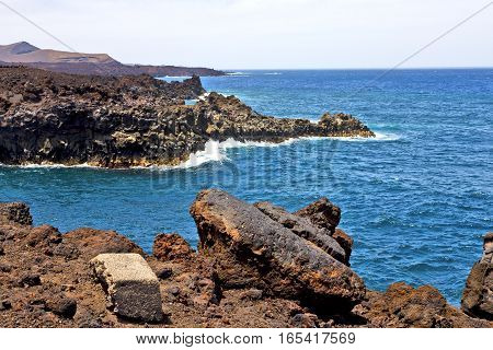 Hervideros Brown Rock  White Coast Lanzarote   Spain