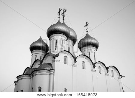 Sophia Cathedral - Orthodox church now a museum in Vologda Russia. Erected in 1568 - 1570 years on the orders of Ivan the Terrible. Black and white.