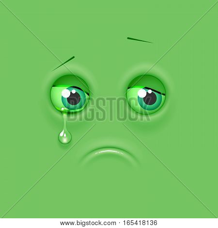 Emoticon emoji on flat background. Vector illustration