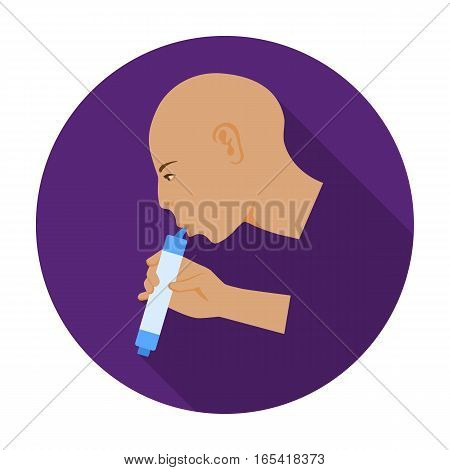 Man drink through compact filter icon in flat design isolated on white background. Water filtration system symbol stock vector illustration.