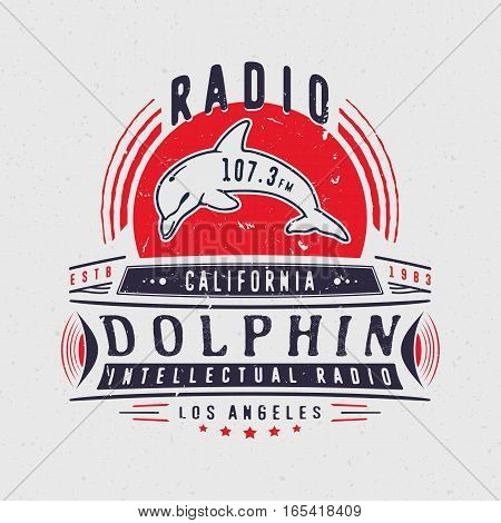 RADIO DOLPHIN. Vintage badge with dolphin. Design fashion apparel textured print. T shirt graphic grunge vector illustration badge label logo template.