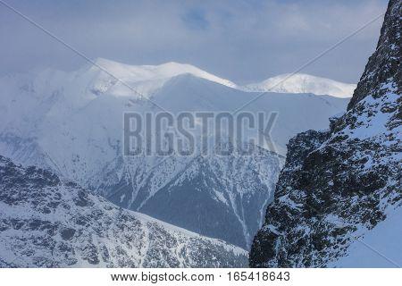 landscape mountain in winter. Fagaras Mountains Romania