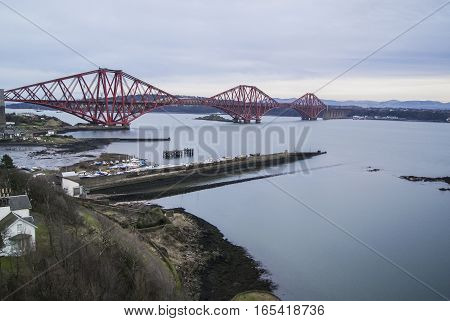 A distant view of the Forth Rail Bridge