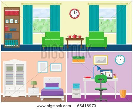 Interior - living room bedroom office place. Flat vector house design with furniture including armchair window cupboard bed wardrobe bedside table desk laptop and lamps. Illustration.