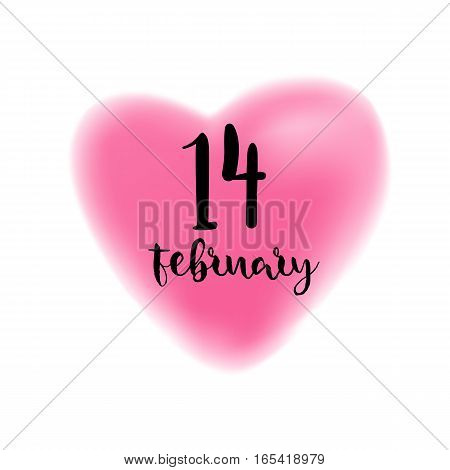 Fourteenth February brush lettering illustration. Handmade calligraphy for print, card, T-shirt. Blurred pink heart symbol background. Vector quote for romantic cards and Valentines Day.