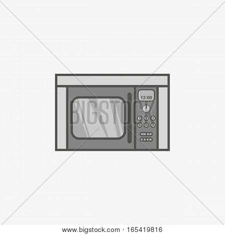 A simple flat icon for built-in microwave oven for heating food