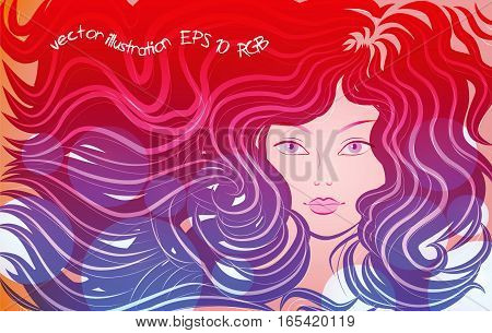 Woman with long hair, pink flowing lines, on a red background. Vector illustration