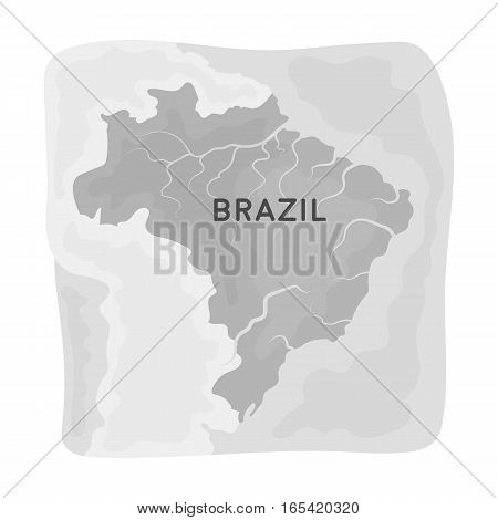 Territory of Brazil icon in monochrome design isolated on white background. Brazil country symbol stock vector illustration.