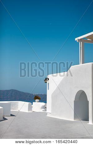White architecture of Santorini island. Hotel terrace. Oia Santorini island Greece