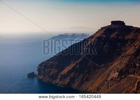 Famous Skaros Rock at Santorini island Greece