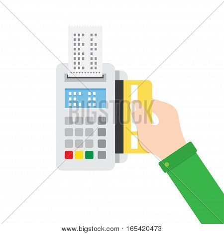 Payment terminal. Hand inserting credit card to a POS terminal. Flat style vector icon