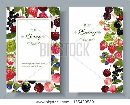 Vector mix berry vertical banners. Design for sweets and pastries filled with berry, dessert menu, health care products. With place for text