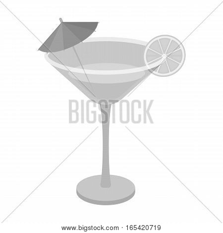 Lemon cocktail icon in monochrome design isolated on white background. Brazil country symbol stock vector illustration.