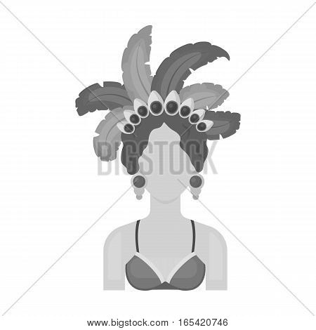 Samba dancer icon in monochrome design isolated on white background. Brazil country symbol stock vector illustration.
