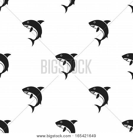 Shark icon in black style isolated on white background. Animals pattern vector illustration.