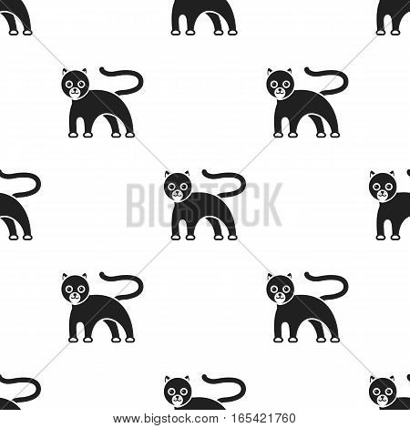 Panther icon in black style isolated on white background. Animals pattern vector illustration.