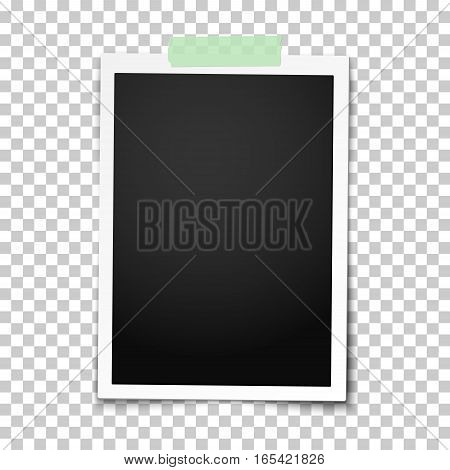 Realistic vector classic photo frame with straight edges on light green adhesive sticky tape placed vertically on transparent background. Template photo design.