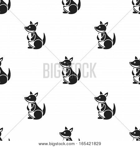 Kangaroo icon in black style isolated on white background. Animals pattern vector illustration.