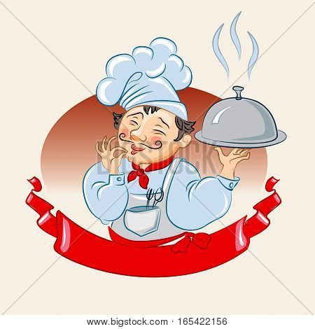 Cook. Isolated on white background, vector illustration