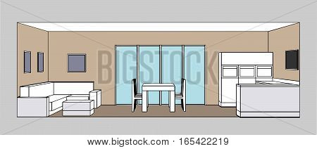 Kitchen interior living room and dining room space. Vector illustration.