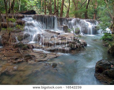 Sixth floor of Huay Mae Kamin Waterfall Khuean Srinagarindra National Park Kanchanaburi Thailand poster