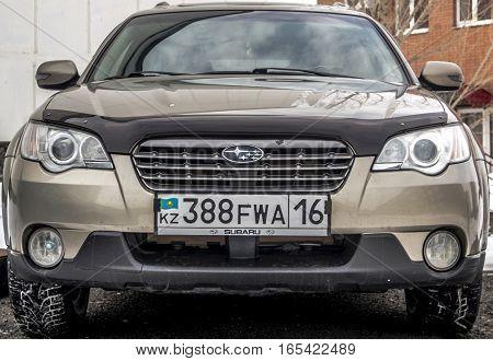 Kazakhstan, Ust-Kamenogorsk, 9 january, 2017: Subaru Outback, front view