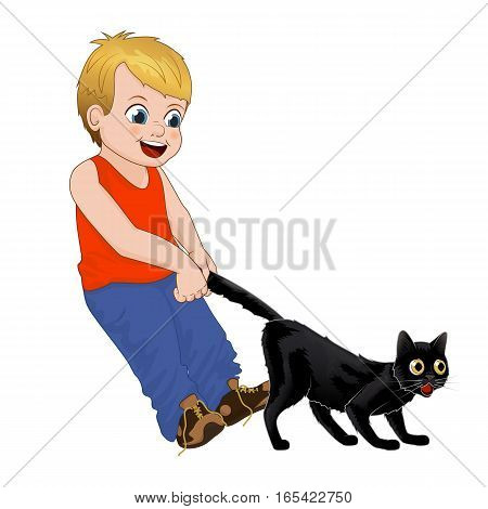 Hoodlum cheerful little boy pulls the black cats tail. Funny cartoon character. Isolated vector illustration, children play outdoors.