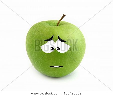 Sad green apple isolated over white background