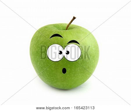 Surprised green apple isolated over white background
