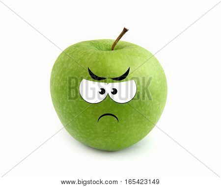 Green angry apple isolated over white background