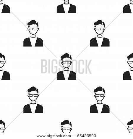 Man with glasses icon black. Single avatar, peaople icon from the big avatar black. - stock vector