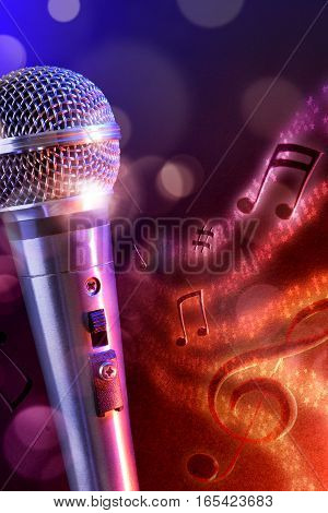 Illustration Microphone With Red And Blue Background Vertical