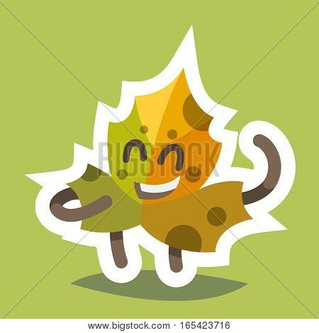 Vector illustration emoticon emoji icon on theme of autumn holiday. Autumn emoticon happy thanksgiving day. Friendly maple leaf