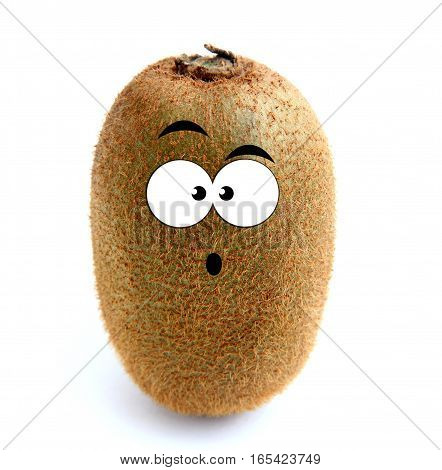 Surprised kiwi fruit isolated over white background