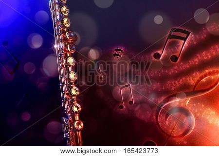 Illustration Transverse Flute With Black Red And Blue Background Horizontal