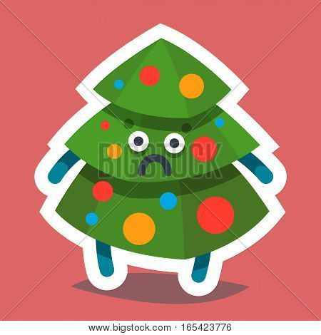 Vector illustration emoticon emoji icon on theme of winter holiday. Autumn emoticon Christmas and New Year. Happy New Year Fir Tree