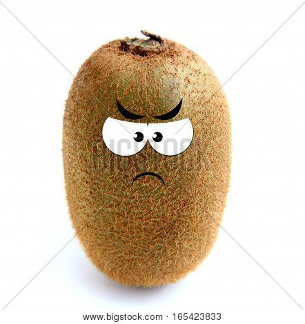 Angry kiwi fruit isolated over white background