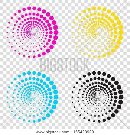 Abstract Technology Circles Sign. Cmyk Icons On Transparent Back