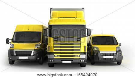 3D Illustration Of A Truck A Van And A Lorry Against A White Background