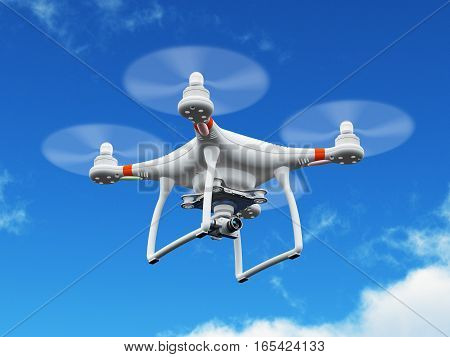 3D render illustration of professional remote controlled wireless RC quadcopter drone with 4K video and photo camera for aerial photography flying in the air blue sky outdoors with selective focus effect