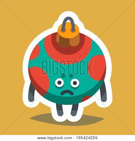 Vector illustration emoticon emoji icon on theme of winter holiday. Autumn emoticon Christmas and New Year. Happy New Year Tree Toy