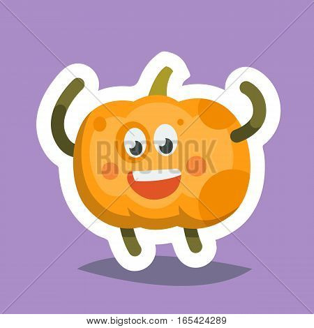 Vector illustration emoticon emoji icon on theme of autumn holiday. Autumn emoticon happy thanksgiving day. Happy Pumpkin