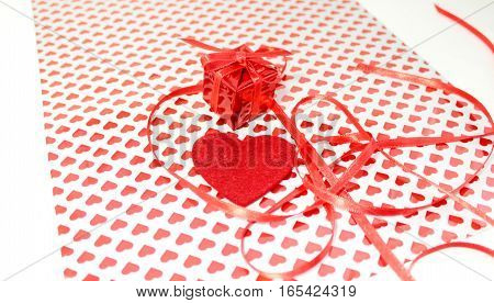 The composition of a gift for Valentine's Day
