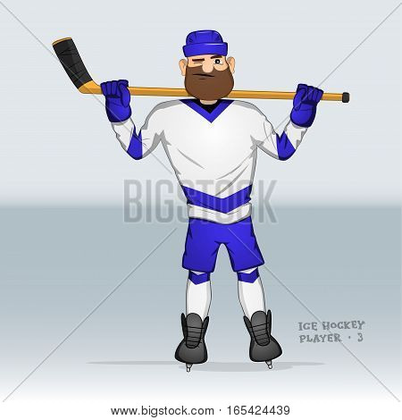 ice hockey player standing with one eye squinted