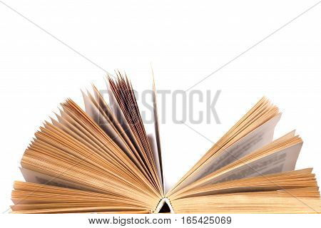 Open book isolated on white background. Back to school. Copy space for text