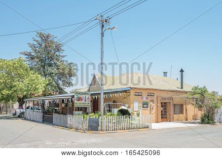 FAURESMITH SOUTH AFRICA - DECEMBER 31 2016: A road stall and a bar in Fauresmith a small town in the Free State Province