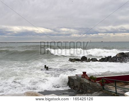 detail of a storm in genova pegli italy